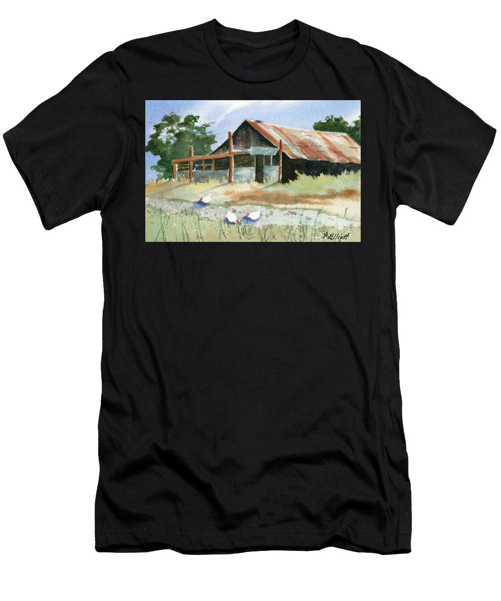 Barn Men's T-Shirt (Athletic Fit) featuring the painting Free Range Chickens by Marsha Elliott