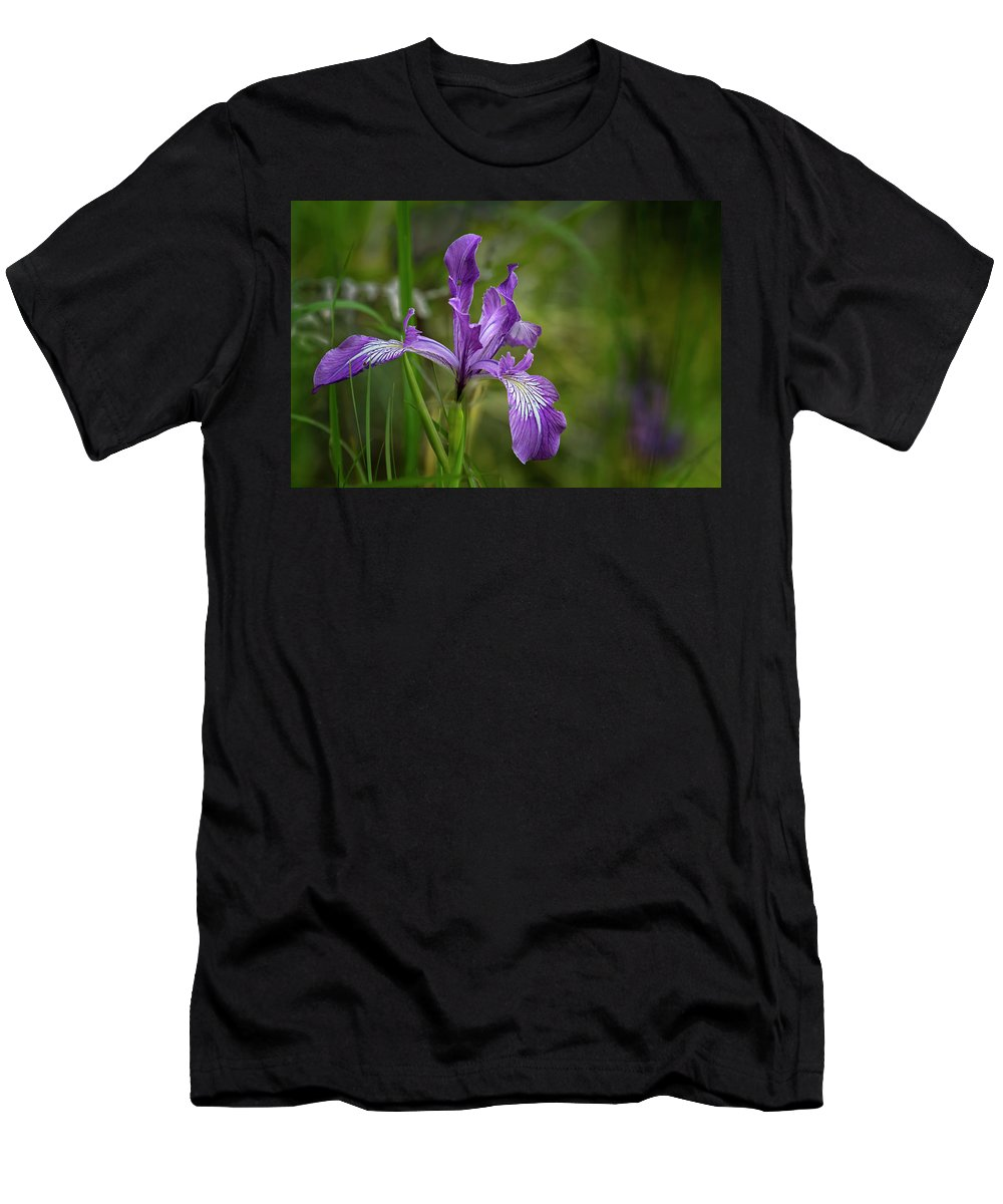 Iris Men's T-Shirt (Athletic Fit) featuring the photograph Free Ranging Wild Iris by Belinda Greb