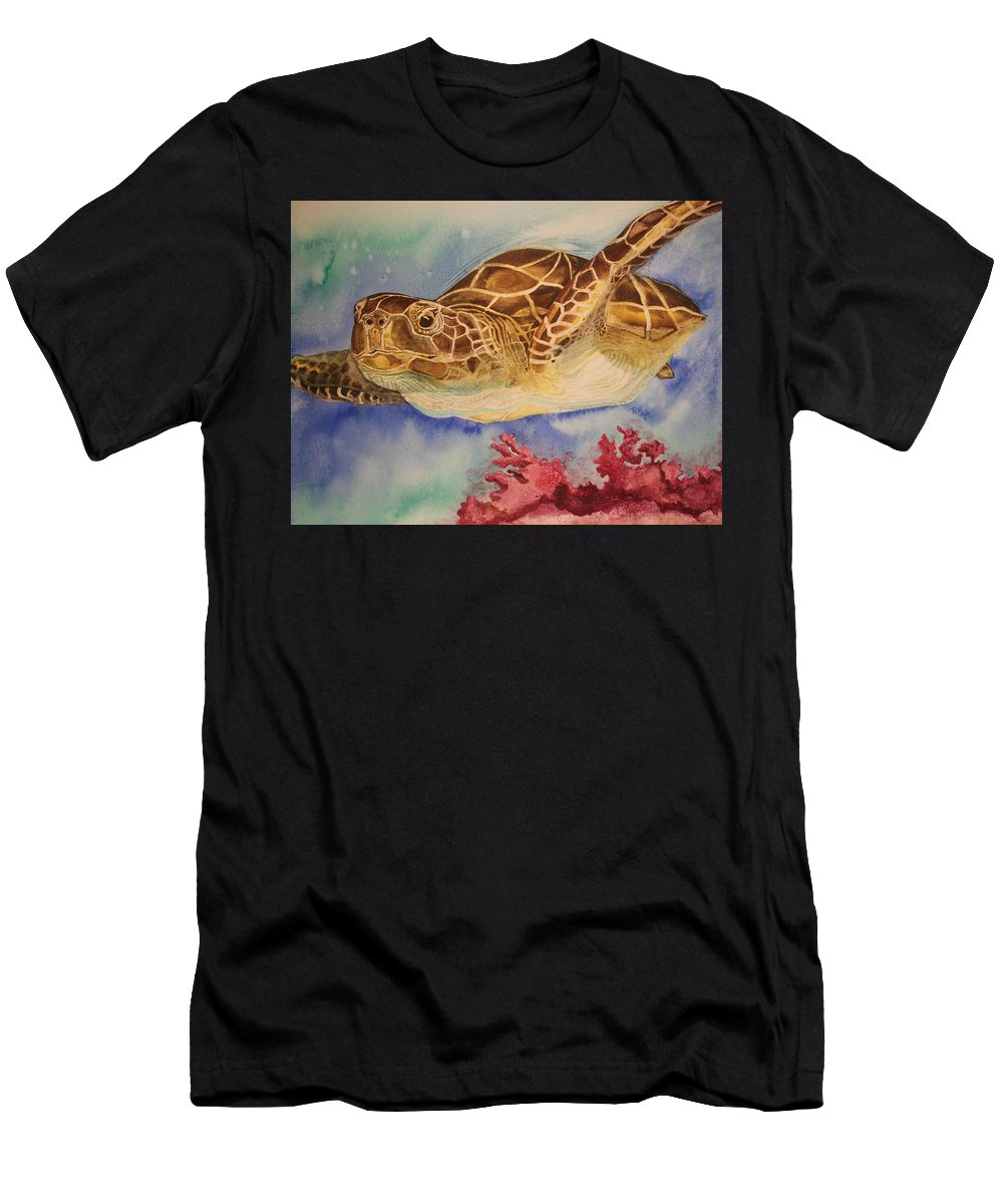 Sea Turtle Men's T-Shirt (Athletic Fit) featuring the painting Free To Swim by Teresa Grace Fourre