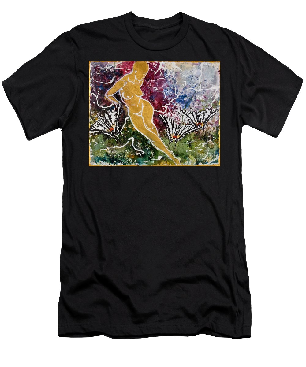 Nude Men's T-Shirt (Athletic Fit) featuring the painting Freedom by Elisabeta Hermann