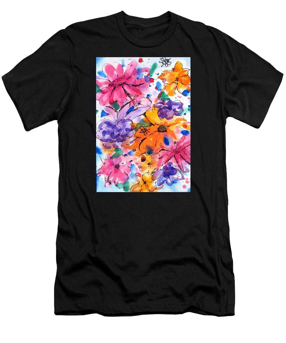 Flowers Men's T-Shirt (Athletic Fit) featuring the painting Freedom For Flowers by Roseann Amaranto
