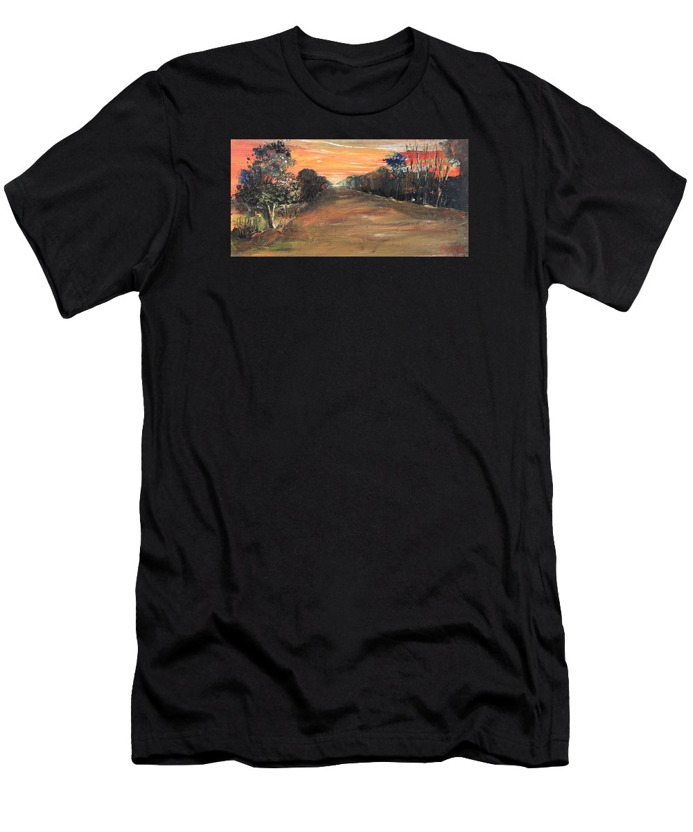 Sunset Men's T-Shirt (Athletic Fit) featuring the painting Freedom Road by Remegio Onia