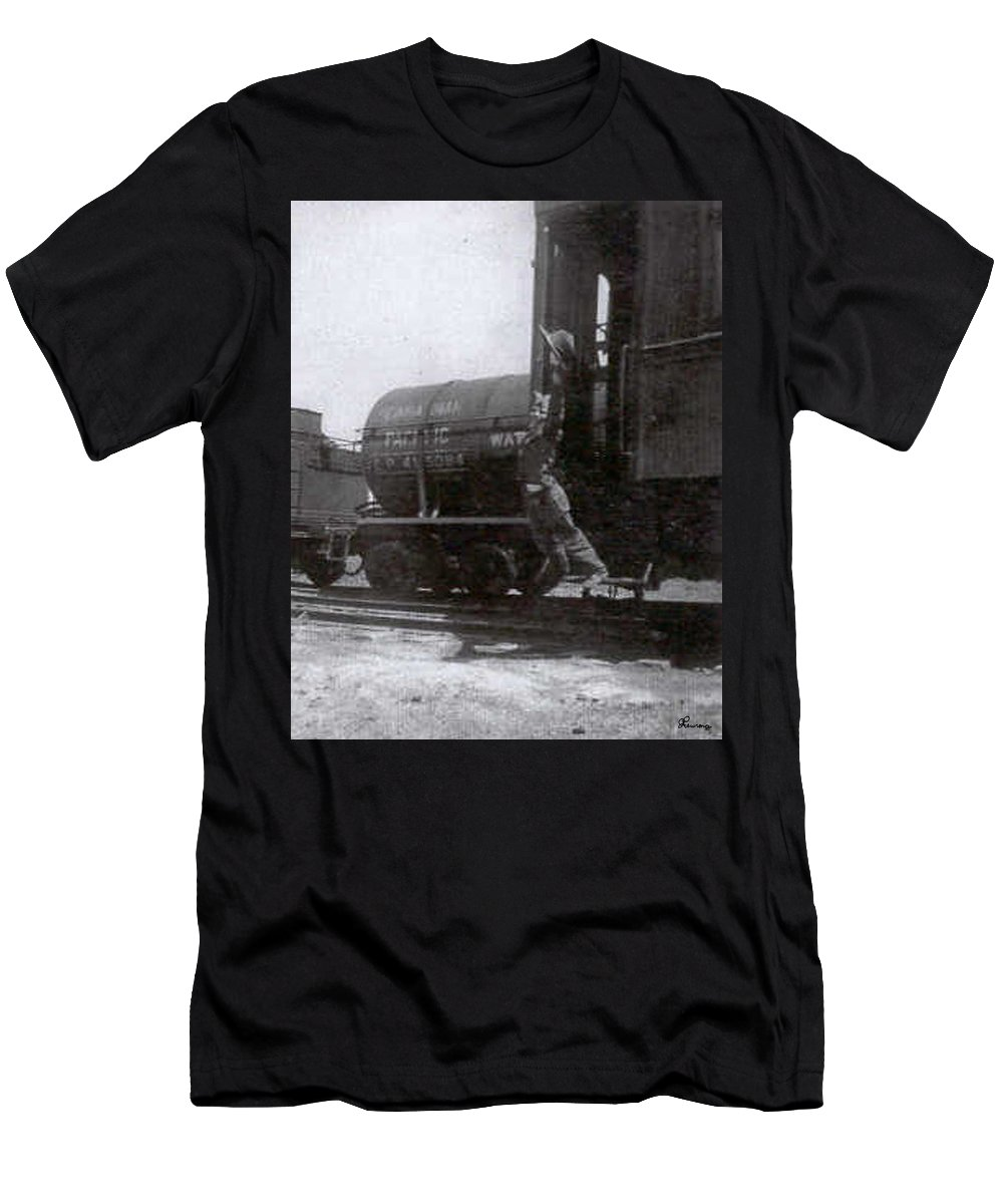 Classic Black And White Old Photo Pioneers Old Days 1900s Old Train Men's T-Shirt (Athletic Fit) featuring the photograph Freedom To Roam by Andrea Lawrence