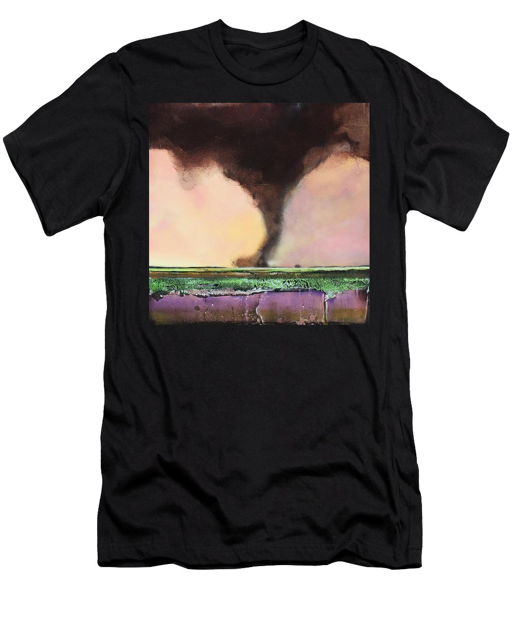 Tornado Men's T-Shirt (Athletic Fit) featuring the painting Freight Train A Comin by Toni Grote