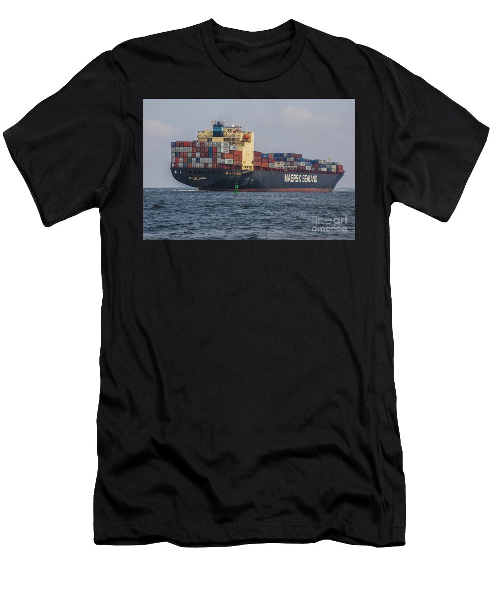 Freighter Headed Out To Sea Men's T-Shirt (Athletic Fit) featuring the photograph Freighter Headed Out To Sea by Dale Powell