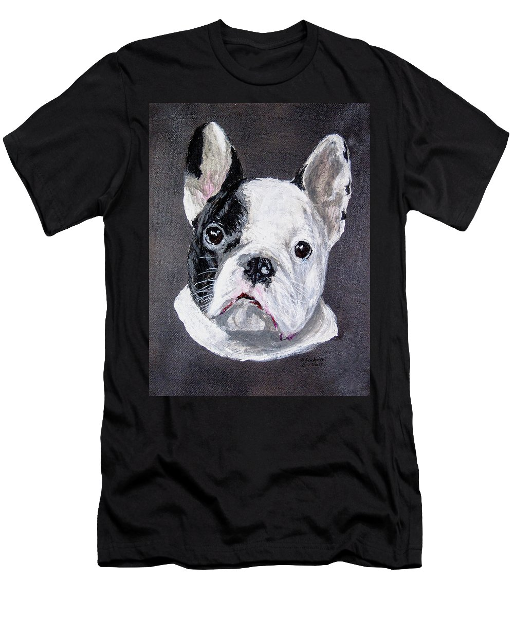 French Bulldog Dog Men's T-Shirt (Athletic Fit) featuring the painting French Bulldog Close Up by Ben Soedjono