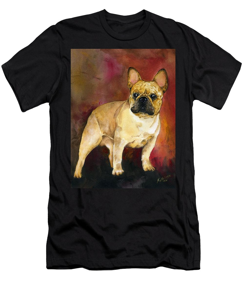 French Bulldog Men's T-Shirt (Athletic Fit) featuring the painting French Bulldog by Kathleen Sepulveda