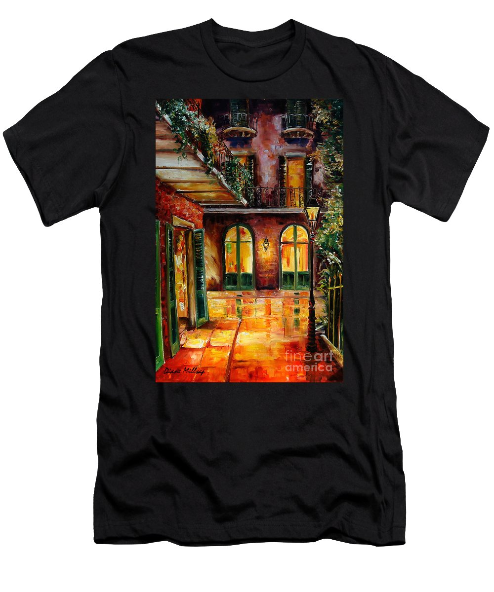 New Orleans Men's T-Shirt (Athletic Fit) featuring the painting French Quarter Alley by Diane Millsap