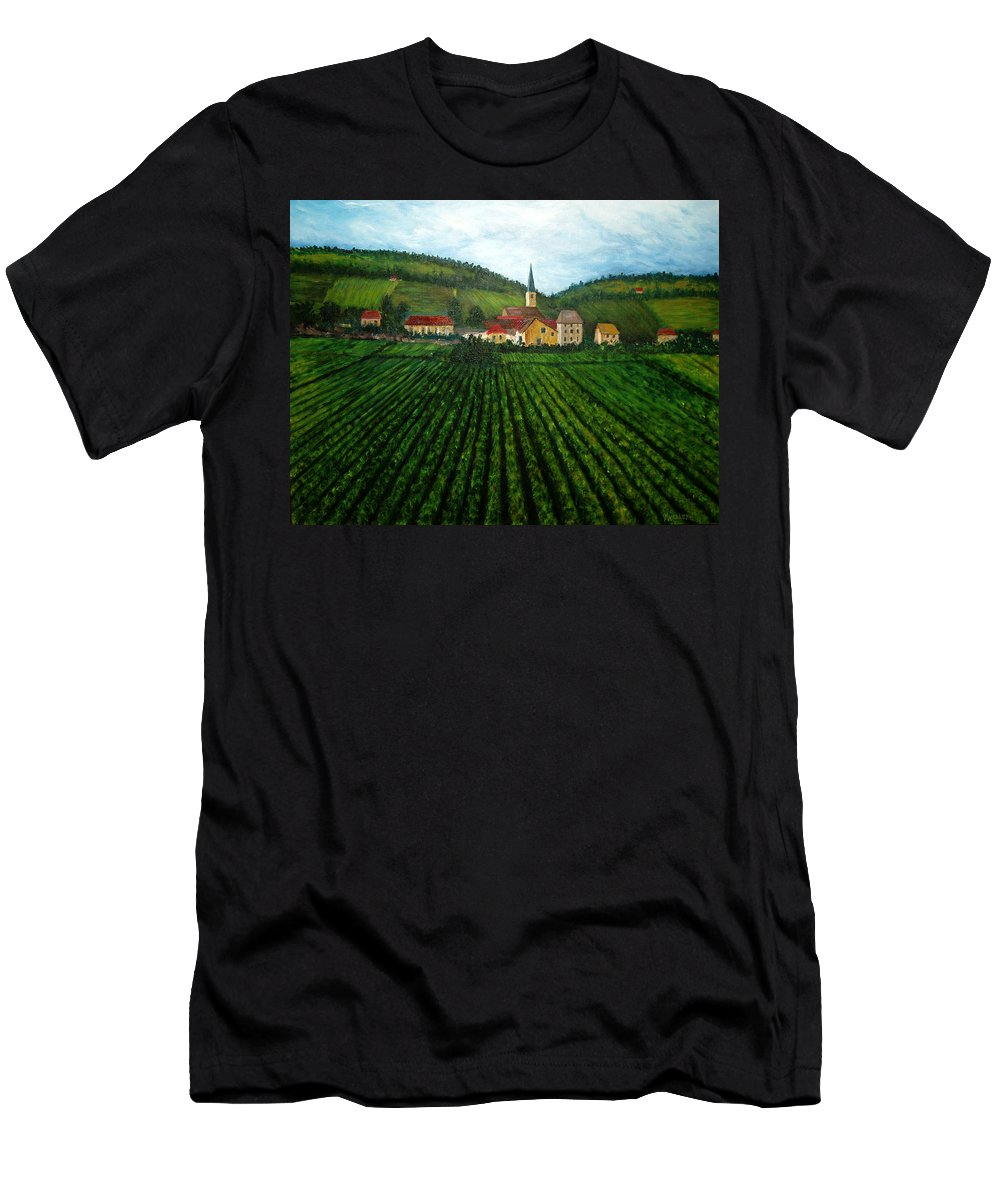 Acrylic Men's T-Shirt (Athletic Fit) featuring the painting French Village In The Vineyards by Nancy Mueller