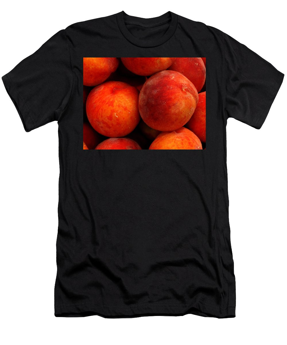 Fruit Men's T-Shirt (Athletic Fit) featuring the photograph Fresh Fuzzy Peaches by Ian MacDonald