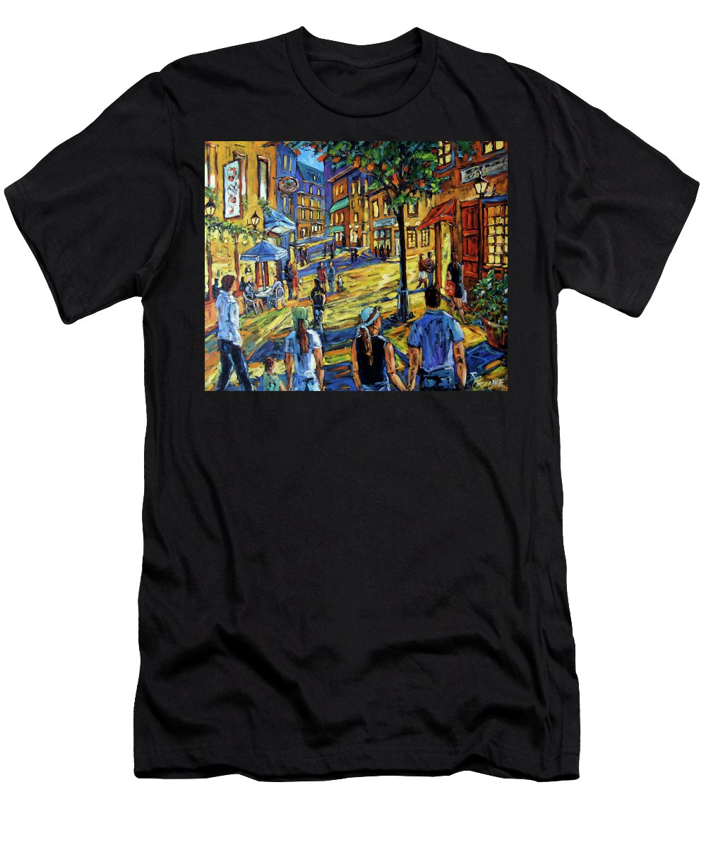 Art Men's T-Shirt (Athletic Fit) featuring the painting Friday Night Walk Prankearts Fine Arts by Richard T Pranke