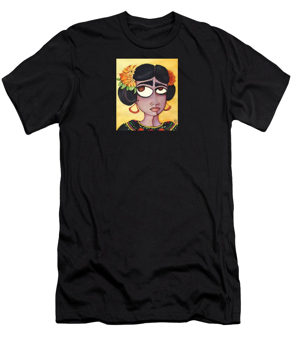 Frida Men's T-Shirt (Athletic Fit) featuring the painting Fridita by Angie Snapp