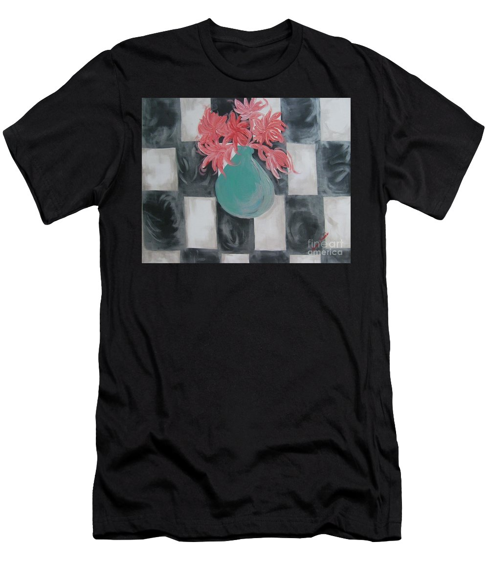 Acrylic Painting Men's T-Shirt (Athletic Fit) featuring the painting Friendly Flowers by Susan Harris