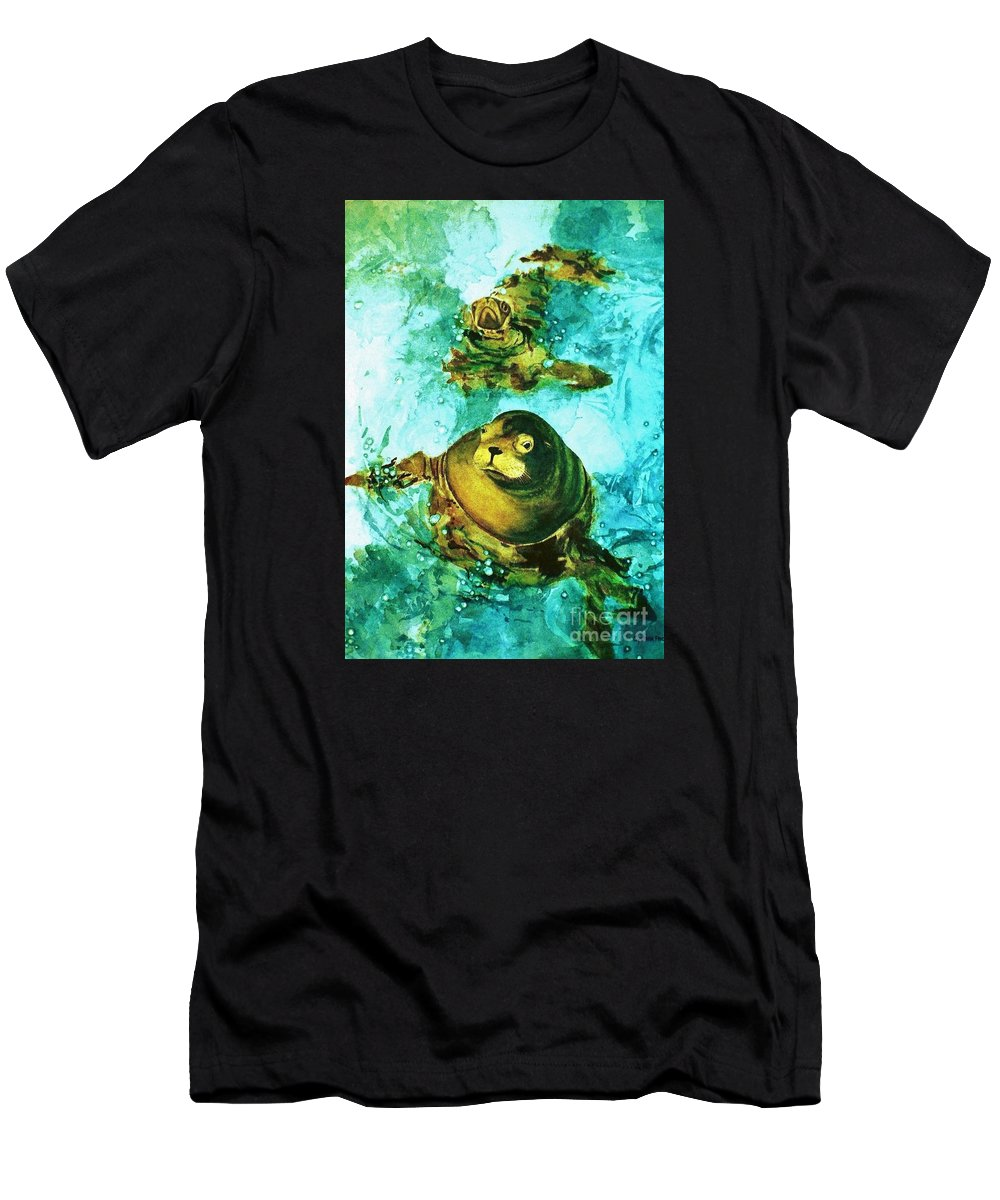Cynthia Pride Watercolor Paintings Men's T-Shirt (Athletic Fit) featuring the painting Friendly Persuasion by Cynthia Pride