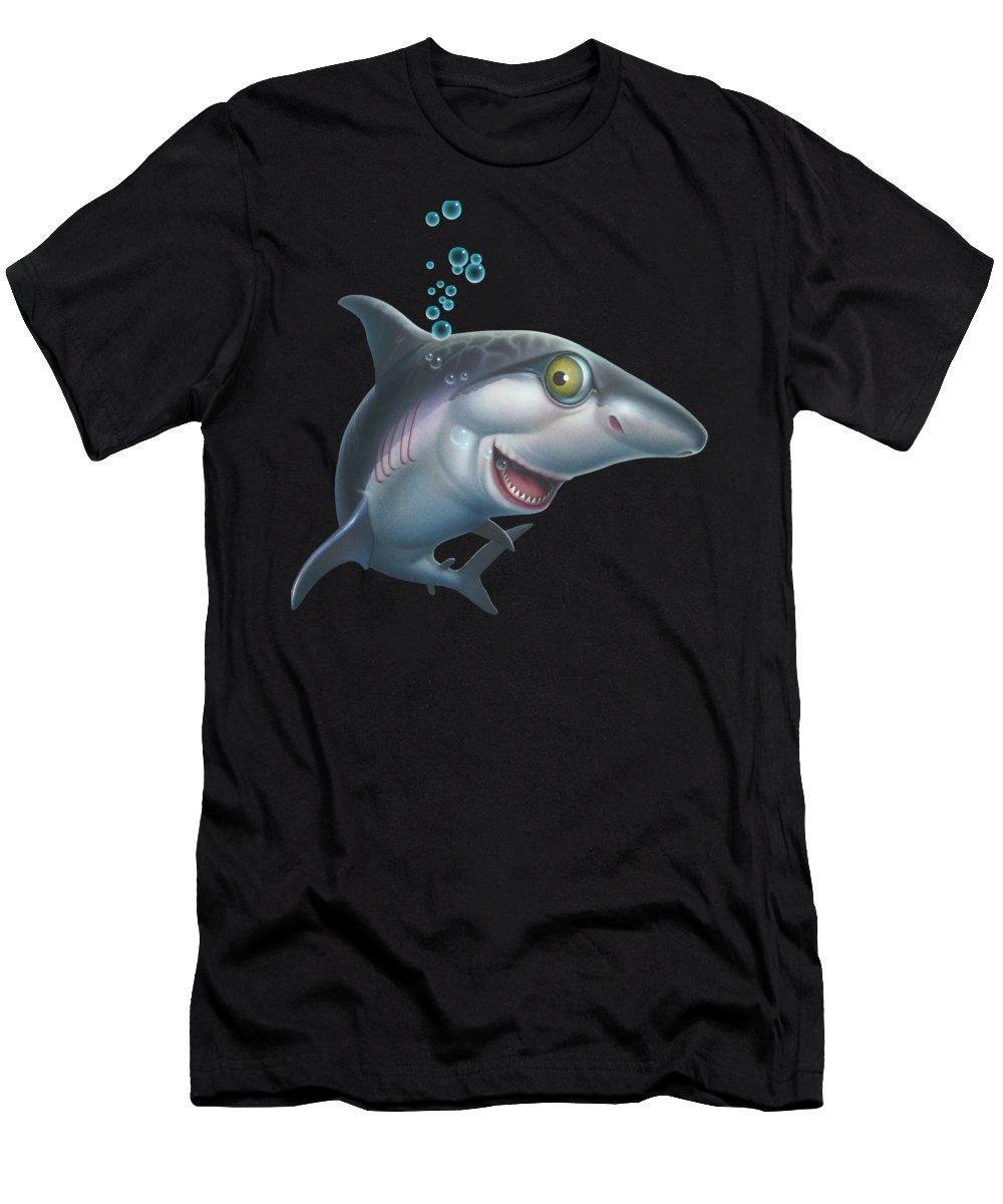 Shark Men's T-Shirt (Athletic Fit) featuring the painting friendly Shark Cartoony cartoon under sea ocean underwater scene art print blue grey by Walt Curlee