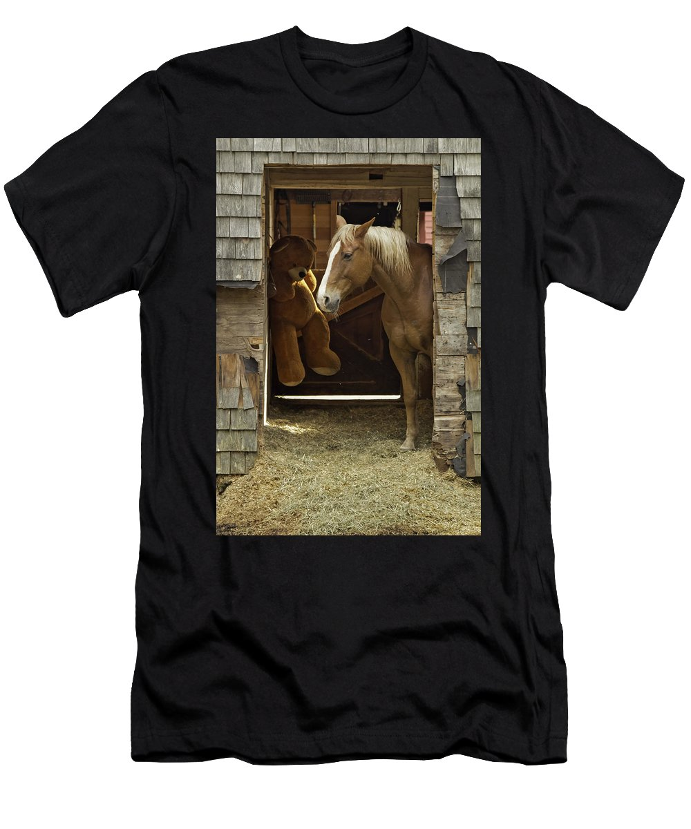 Horse Men's T-Shirt (Athletic Fit) featuring the photograph Friends by Jay Arbelo