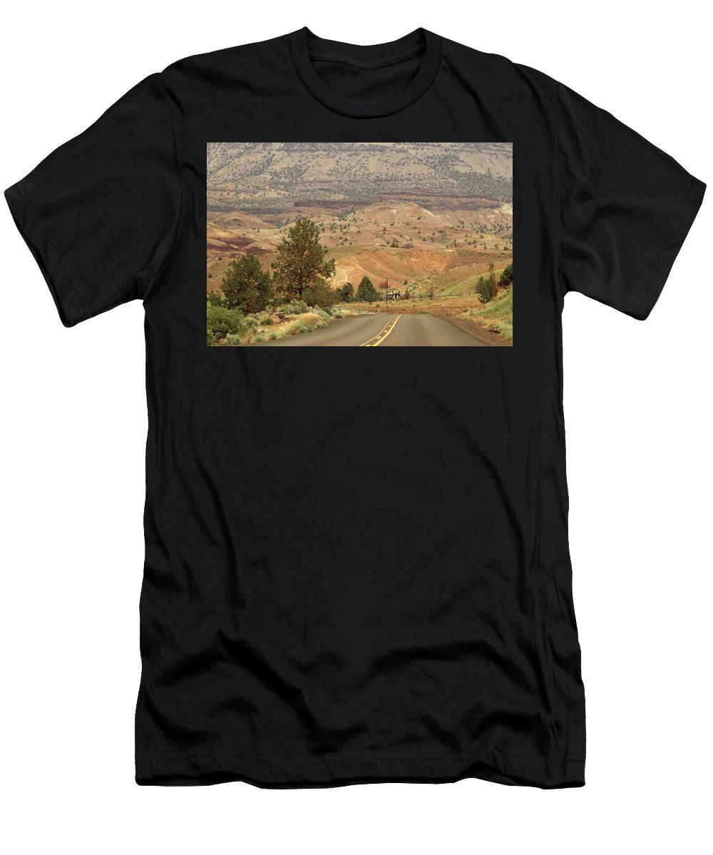 Smith Rock State Park Men's T-Shirt (Athletic Fit) featuring the photograph From Mitchell To Smith Rock by Hany J