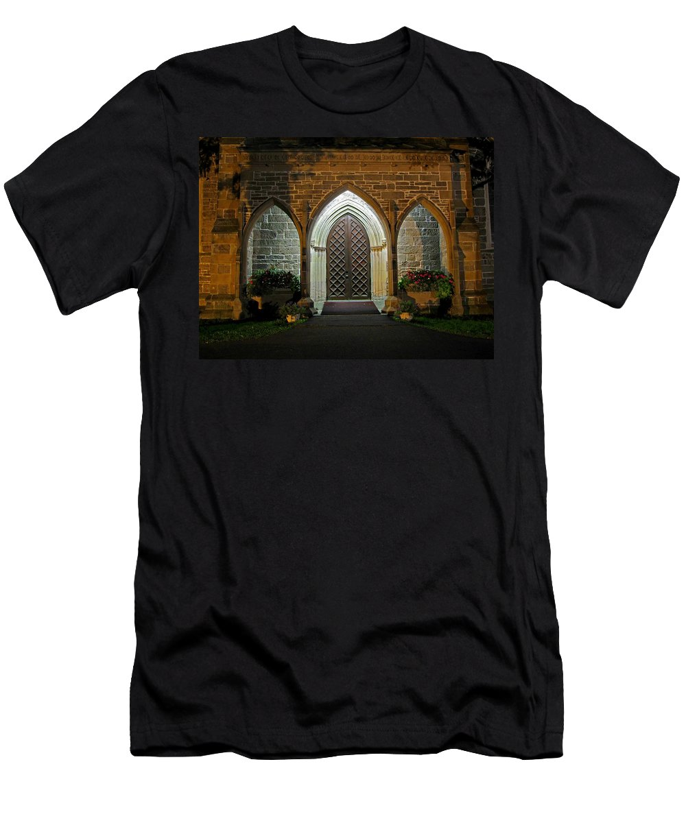 Christ Church Cathedral Fredericton Men's T-Shirt (Athletic Fit) featuring the photograph Front Door Christ Church Cathedral 1 by Mark Sellers