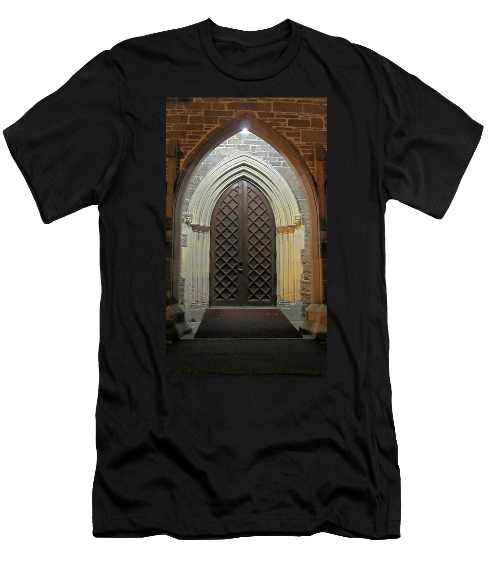 Christ Church Cathedral Fredericton Men's T-Shirt (Athletic Fit) featuring the photograph Front Door Christ Church Cathedral 4 by Mark Sellers