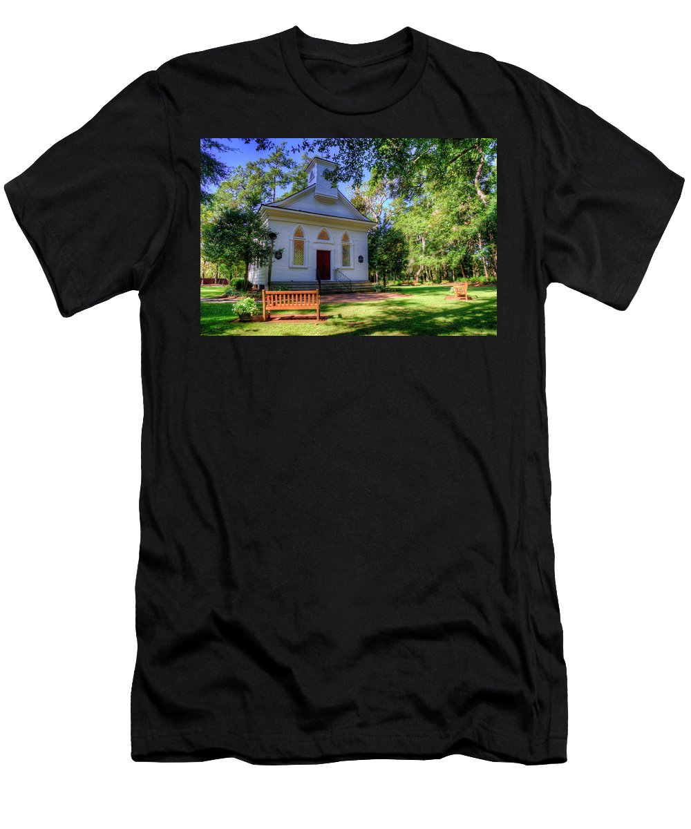 Church Men's T-Shirt (Athletic Fit) featuring the photograph Front Of A Small Church by TJ Baccari