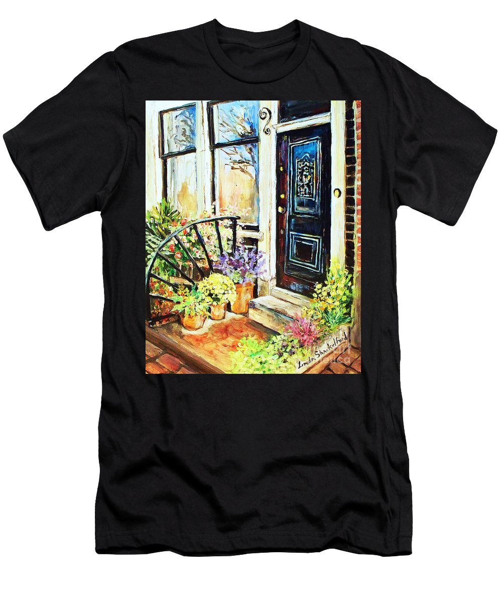 Frontporch Men's T-Shirt (Athletic Fit) featuring the painting Front Porch by Linda Shackelford