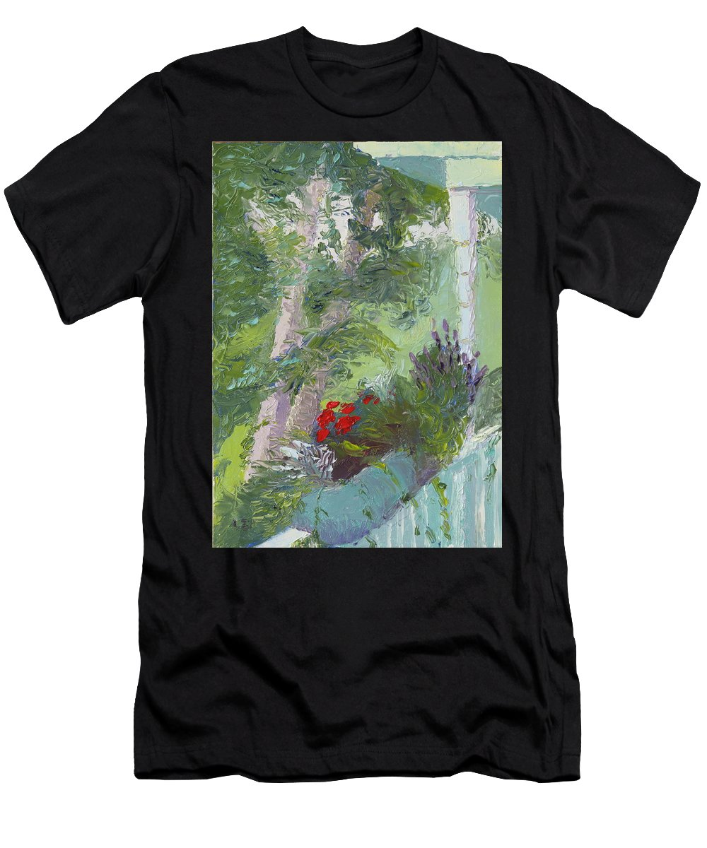 Porch Painting Men's T-Shirt (Athletic Fit) featuring the painting Front Porch View by Lea Novak