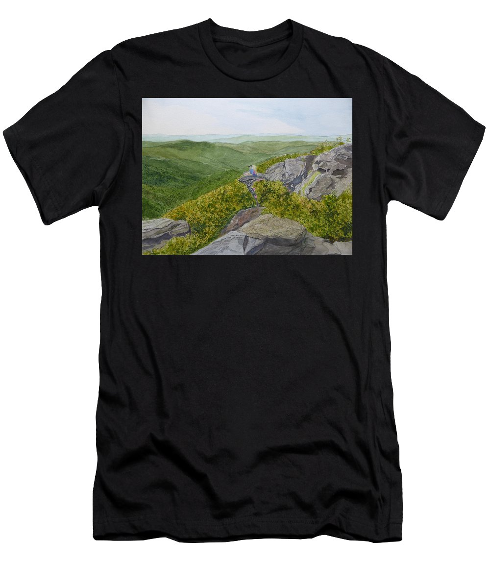 Craggy Gardens Men's T-Shirt (Athletic Fit) featuring the painting Front Row Seats by Joel Deutsch