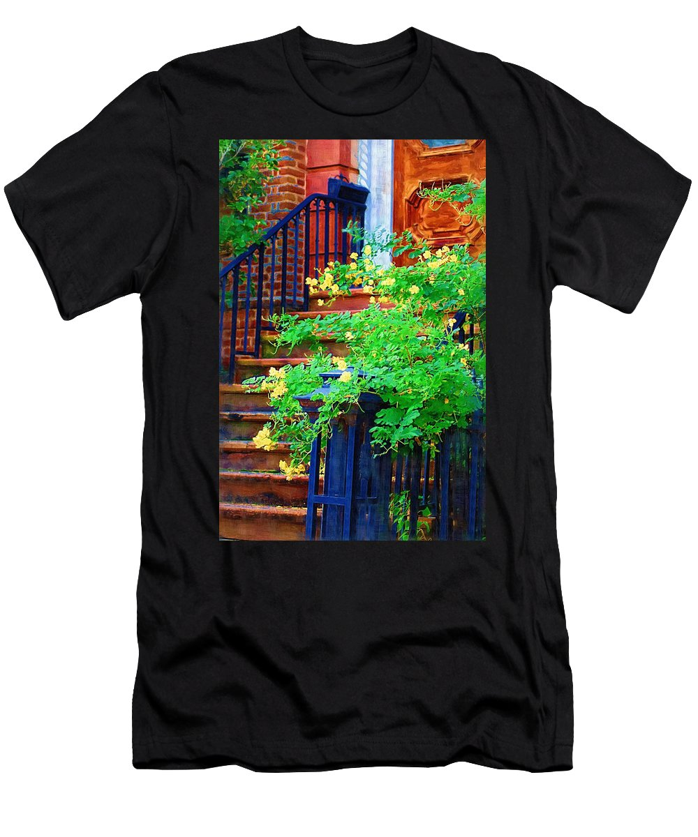 Front Door Men's T-Shirt (Athletic Fit) featuring the photograph Front Stoop by Donna Bentley