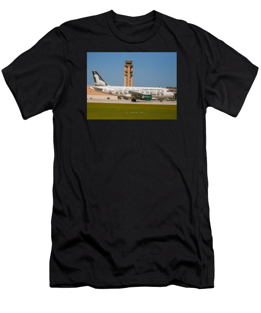 Frontier Airline Men's T-Shirt (Athletic Fit) featuring the photograph Frontier Airline by Dart and Suze Humeston