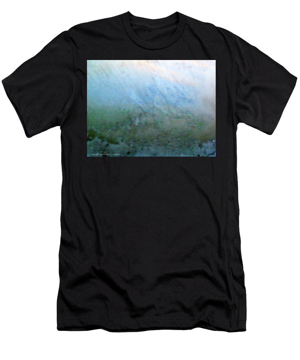 Frost Men's T-Shirt (Athletic Fit) featuring the photograph Frost On North Facing Window by Richard Singleton