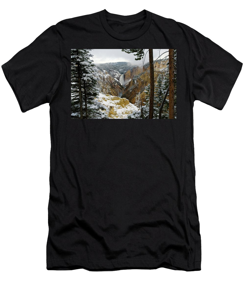 Yellowstone Men's T-Shirt (Athletic Fit) featuring the photograph Frosted Canyon by Steve Stuller