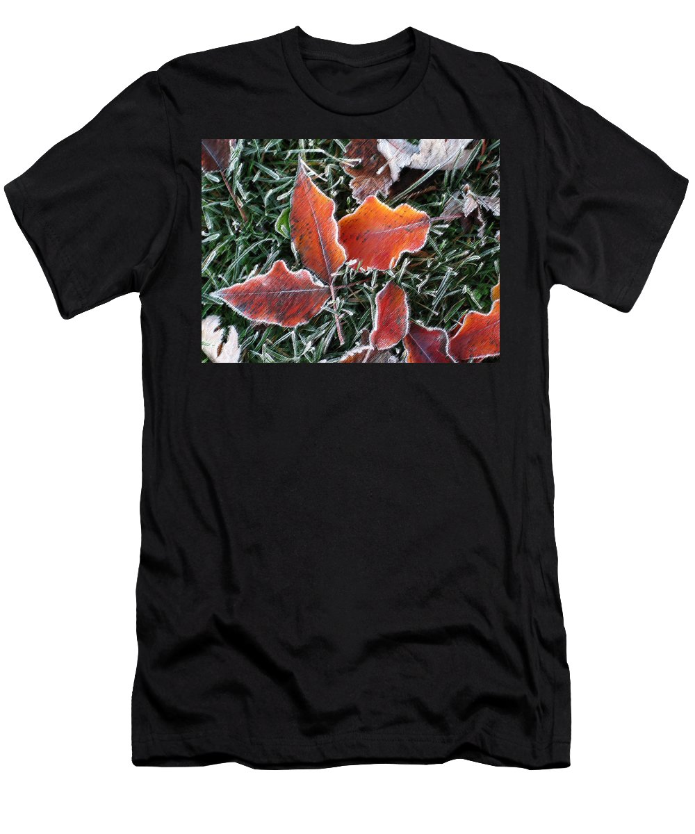 Leaves Fall Leaf Orange Red Nature Digital Art Men's T-Shirt (Athletic Fit) featuring the photograph Frosted Leaves by Shari Jardina
