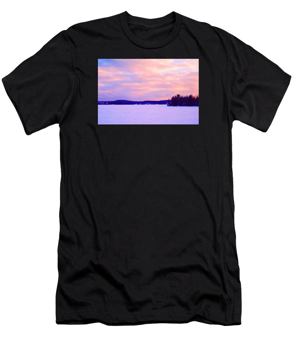 Abstract Men's T-Shirt (Athletic Fit) featuring the photograph Frozen Lake Sunset 2 by Lyle Crump