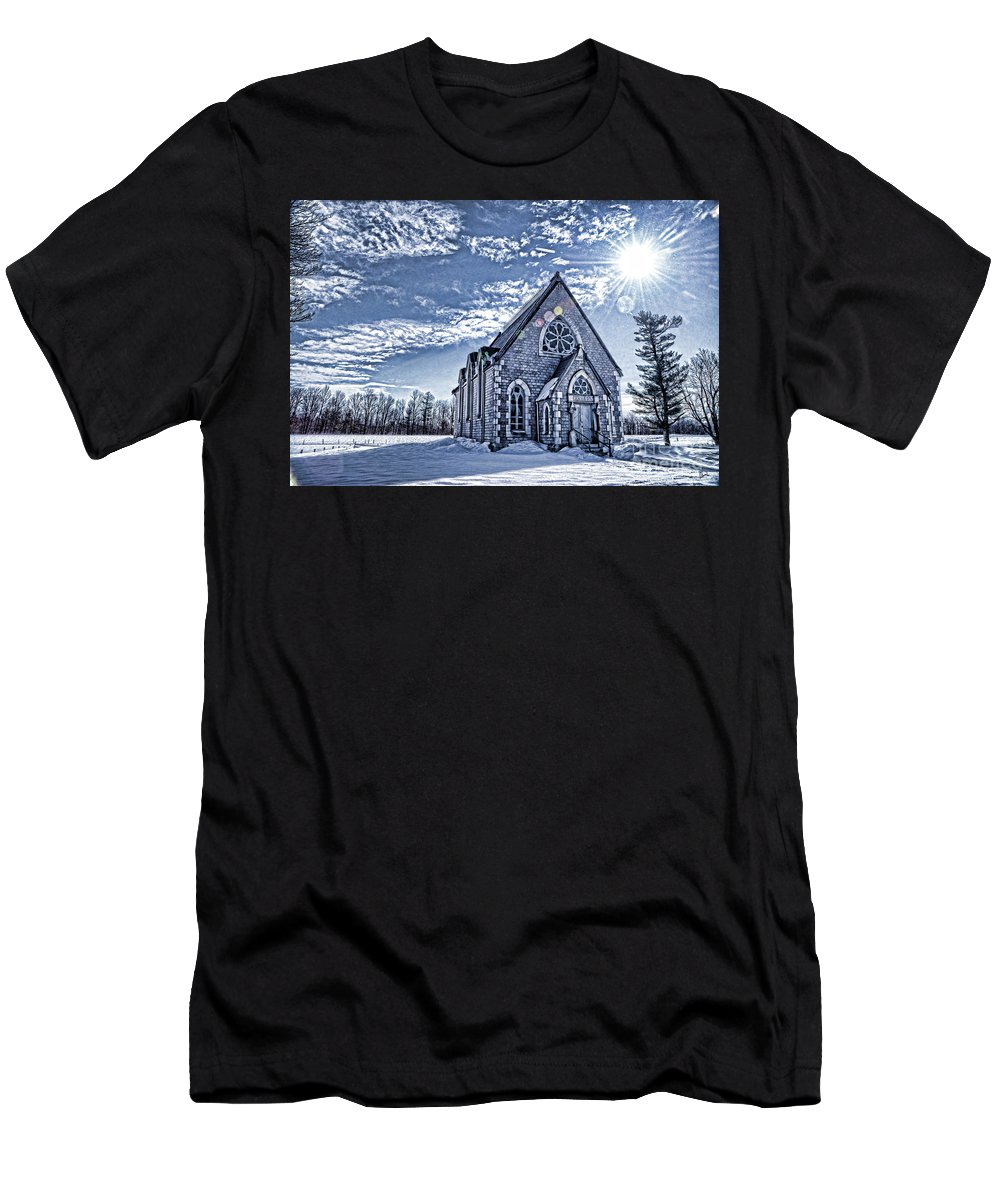 Blue Men's T-Shirt (Athletic Fit) featuring the photograph Frozen Land by Alana Ranney