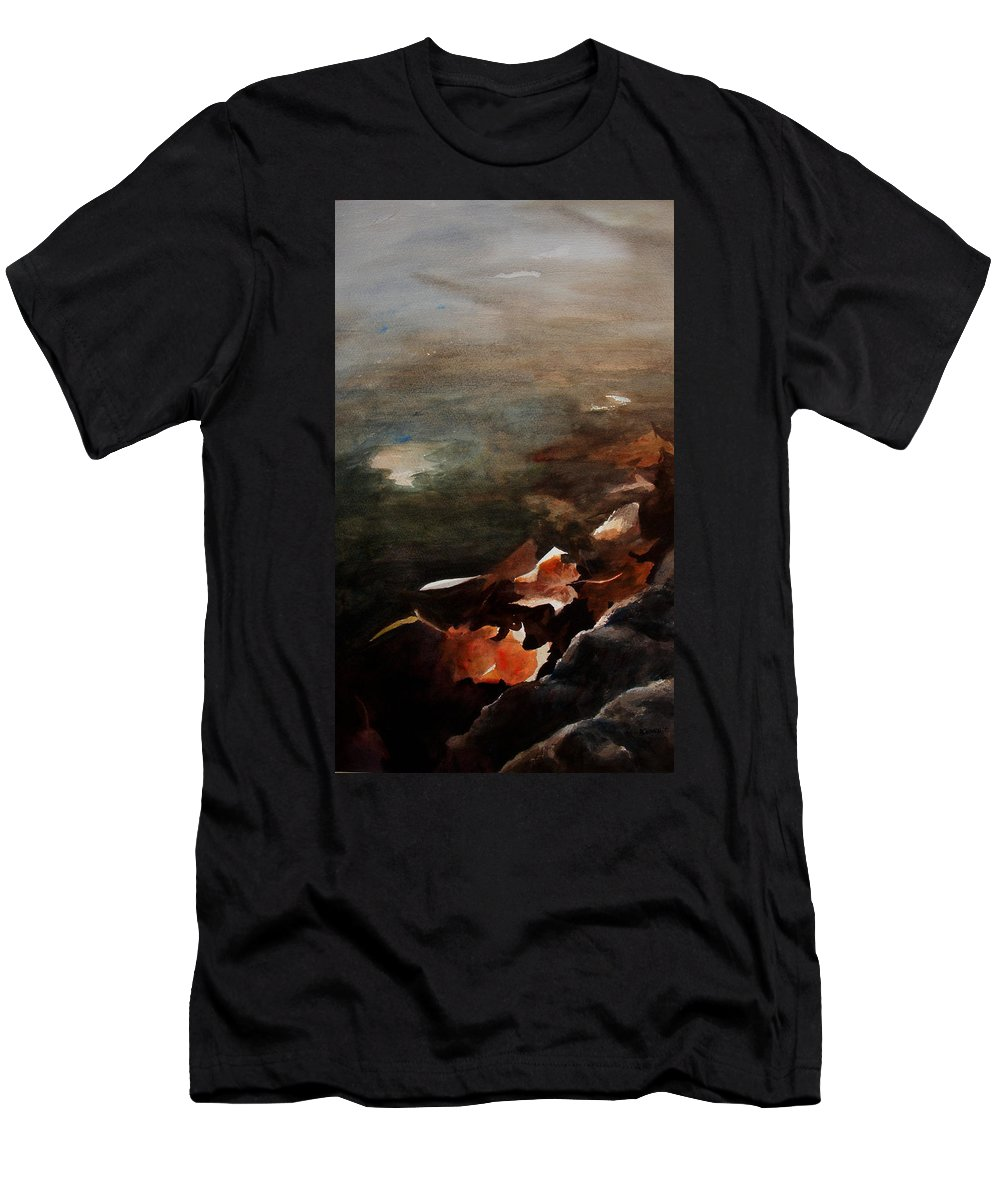 Landscape Men's T-Shirt (Athletic Fit) featuring the painting Frozen Memories by Rachel Christine Nowicki