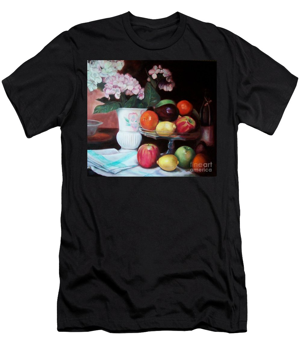 Still Life Men's T-Shirt (Athletic Fit) featuring the painting Fruit On Glass Dish II by Marlene Book