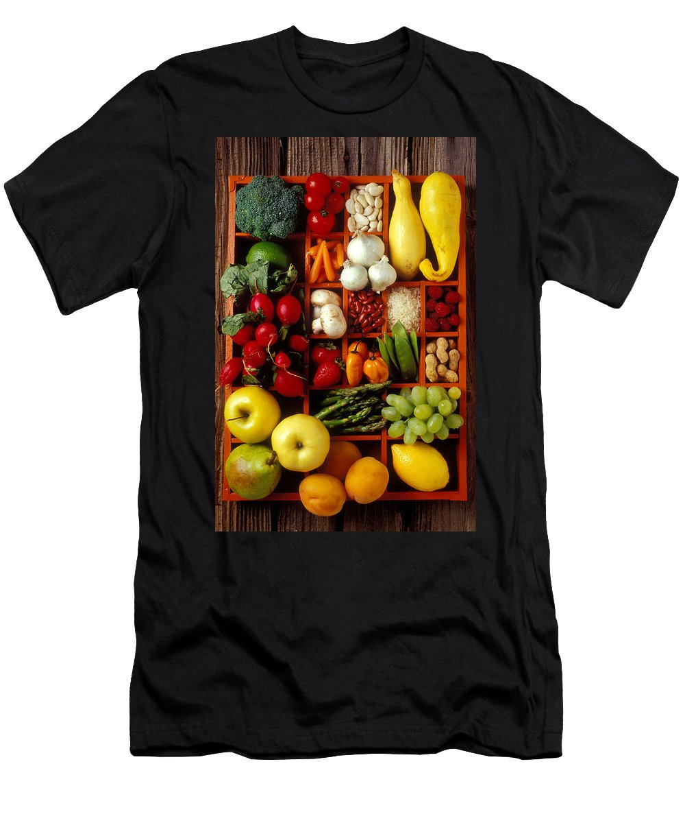 Fruits Vegetables Apples Grapes Compartments Men's T-Shirt (Athletic Fit) featuring the photograph Fruits And Vegetables In Compartments by Garry Gay