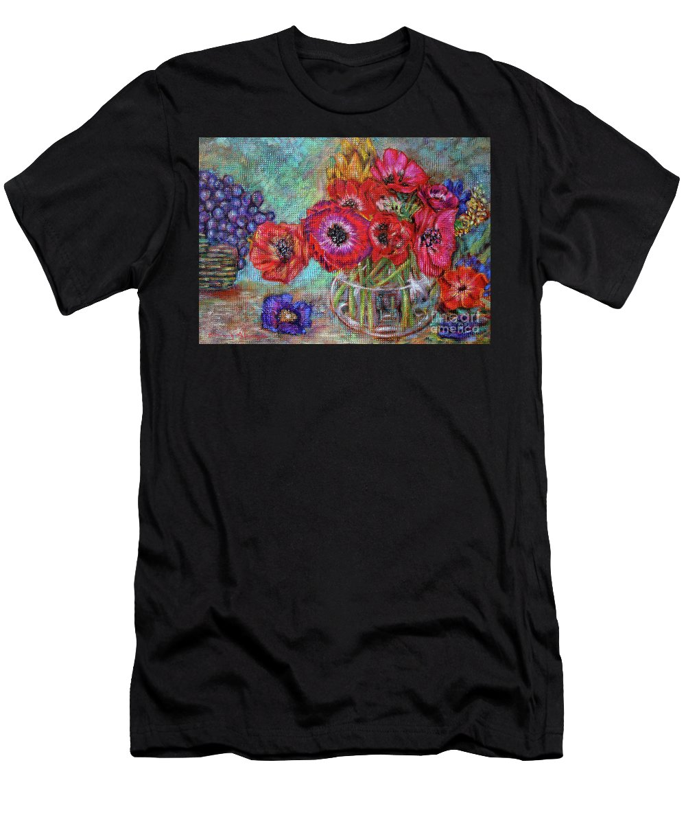 Flowers Men's T-Shirt (Athletic Fit) featuring the painting Full Colors by Nancy Almazan