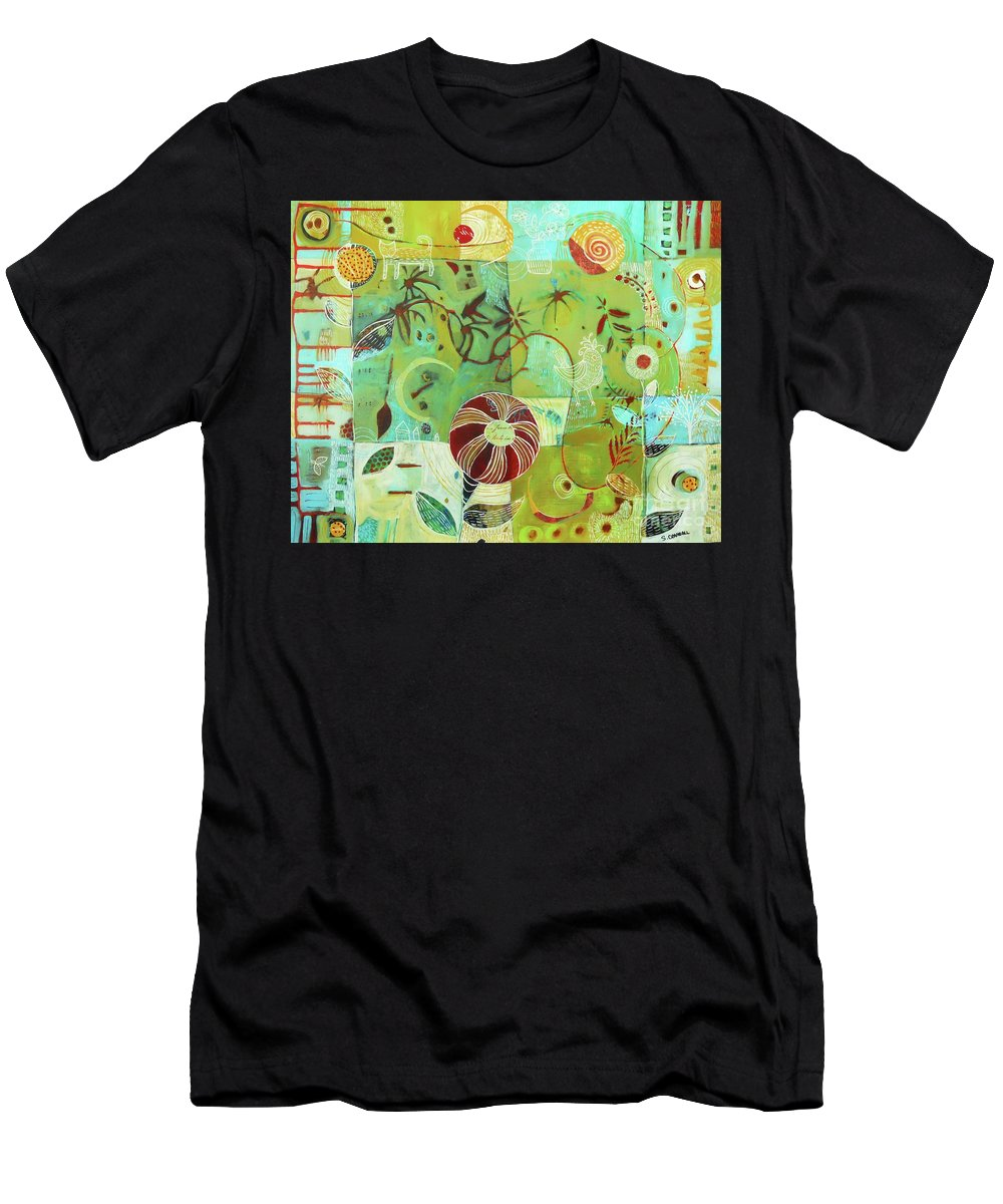 Paper Men's T-Shirt (Athletic Fit) featuring the mixed media Full Crazy Quilt by Shannon Crandall