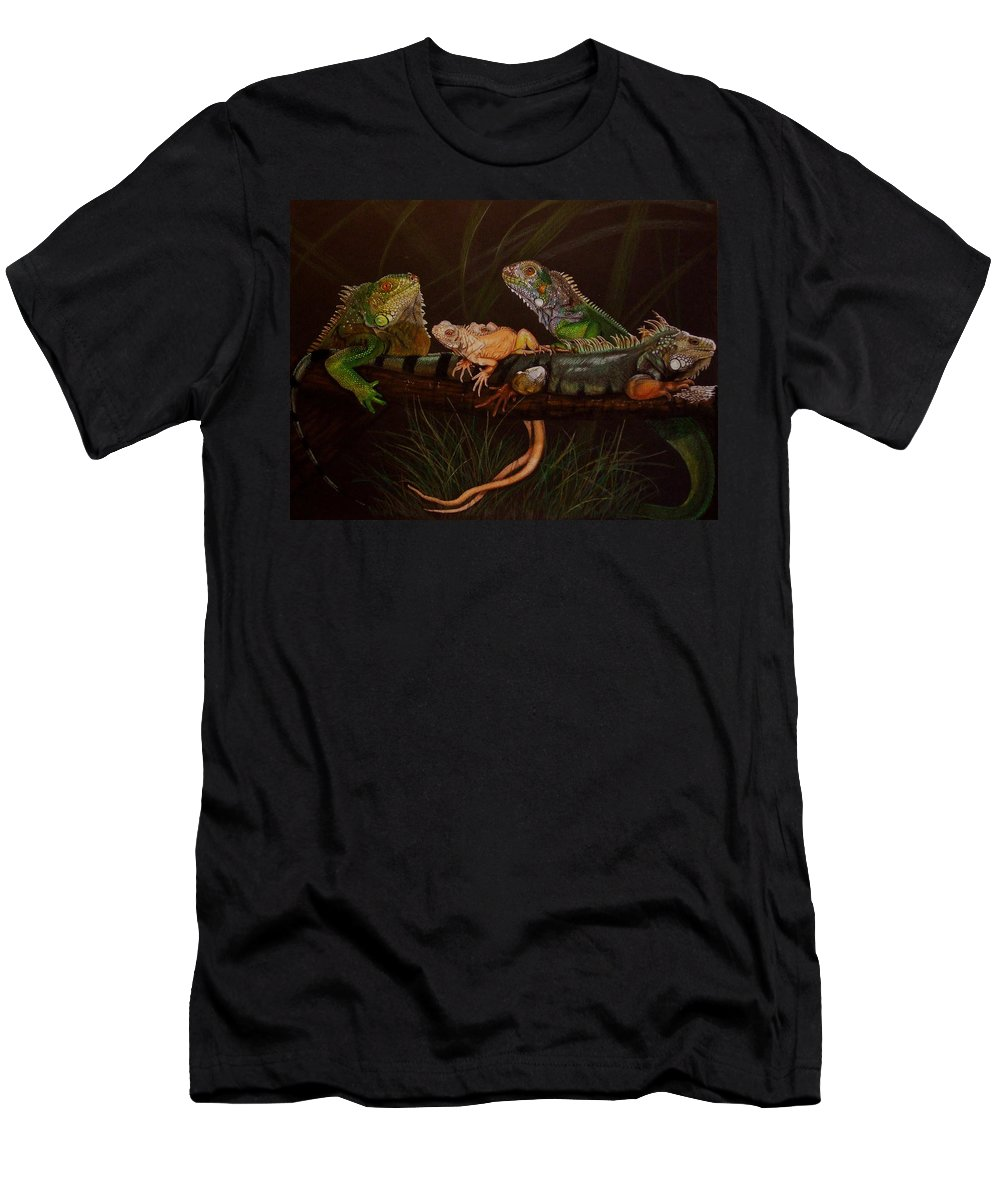 Iguana Men's T-Shirt (Athletic Fit) featuring the drawing Full House by Barbara Keith