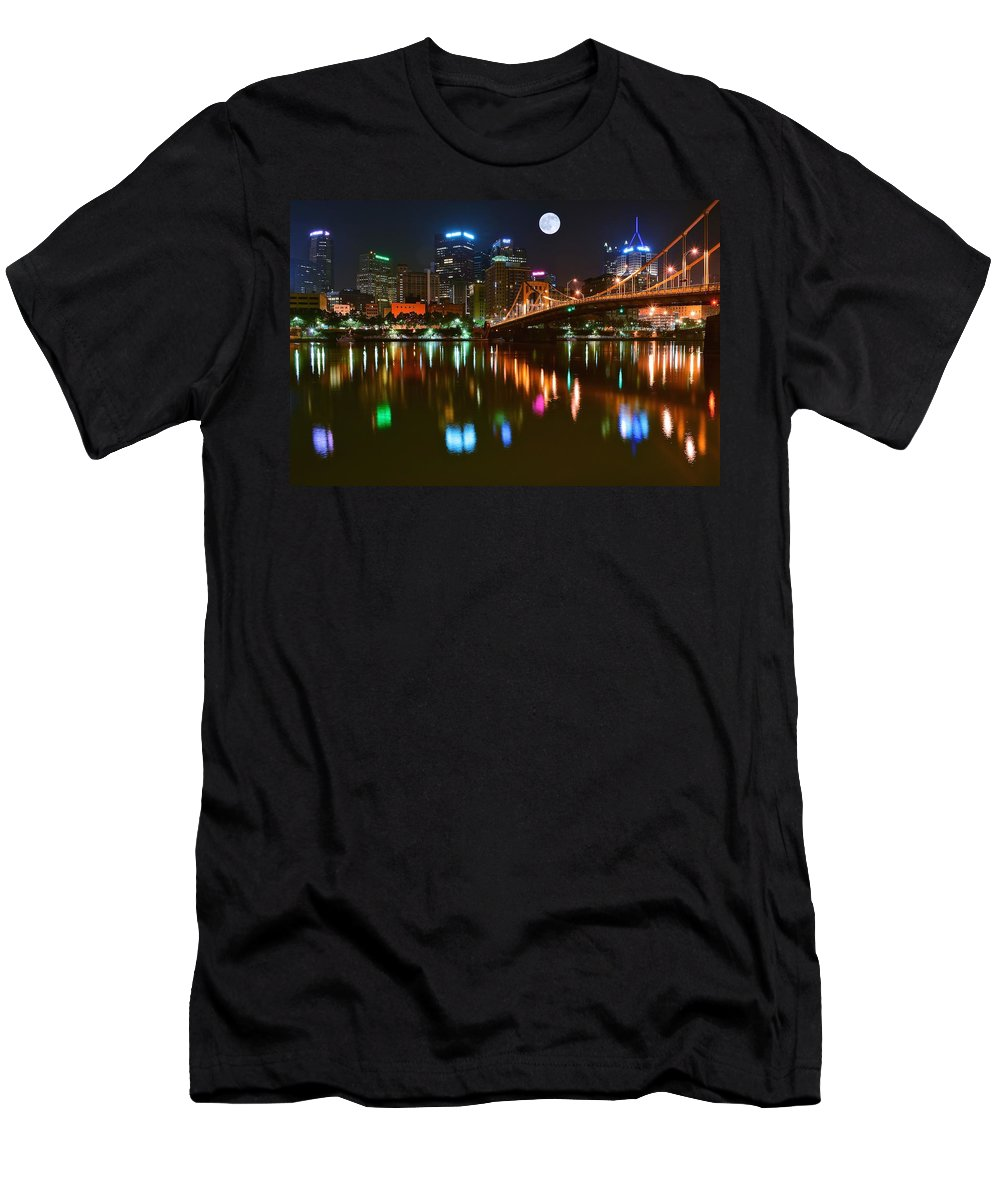 Pittsburgh Men's T-Shirt (Athletic Fit) featuring the photograph Full Moon Over Pittsburgh by Frozen in Time Fine Art Photography