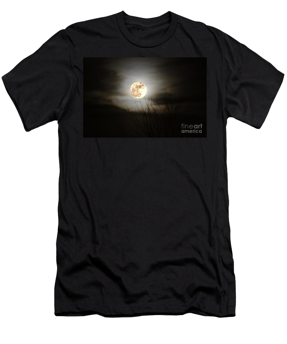 Moon Men's T-Shirt (Athletic Fit) featuring the photograph Full Moon by Reva Steenbergen