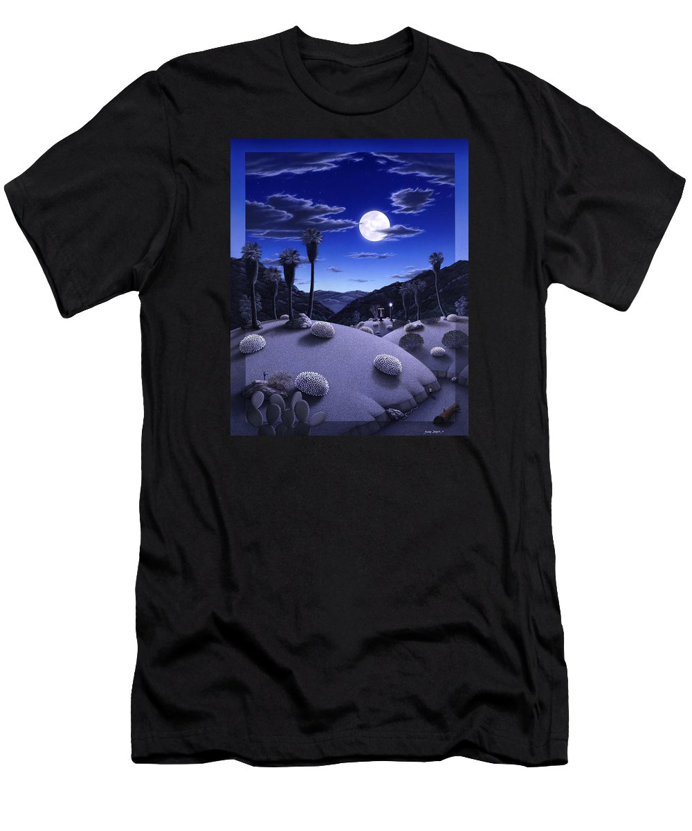 Desert Men's T-Shirt (Athletic Fit) featuring the painting Full Moon Rising by Snake Jagger