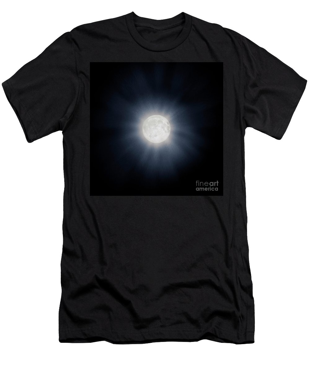 Moon Men's T-Shirt (Athletic Fit) featuring the photograph Full Moon With Glowing Halo by Awen Fine Art Prints