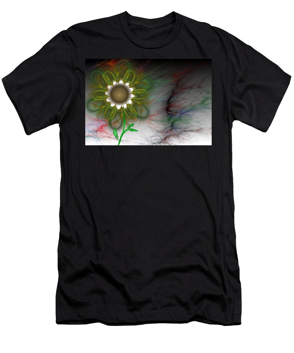 Digital Photography T-Shirt featuring the digital art Funky Floral by David Lane