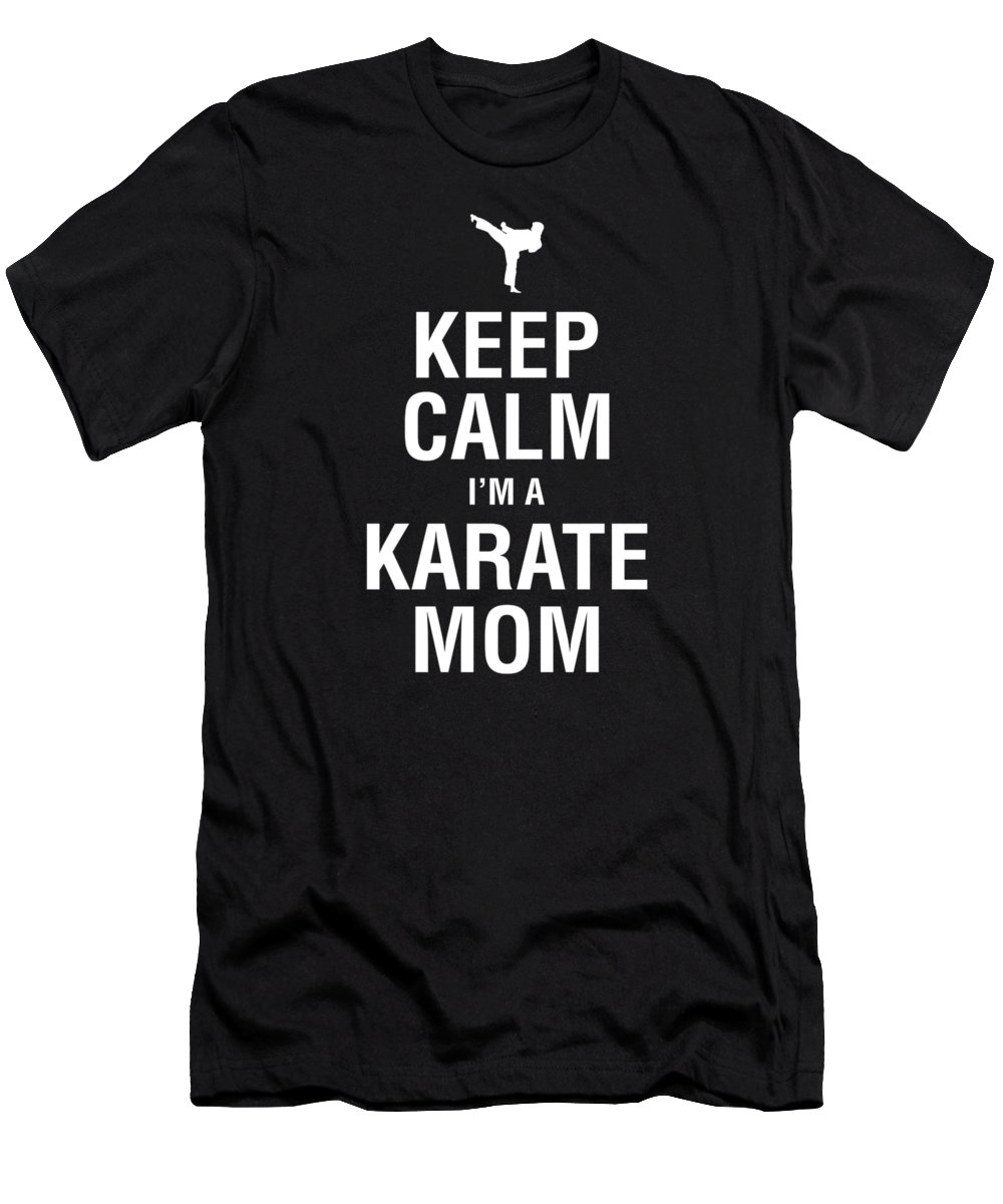 Black-belt Men's T-Shirt (Athletic Fit) featuring the digital art Funny Karate Design Keep Calm Im A Karate Mom White Light by J P