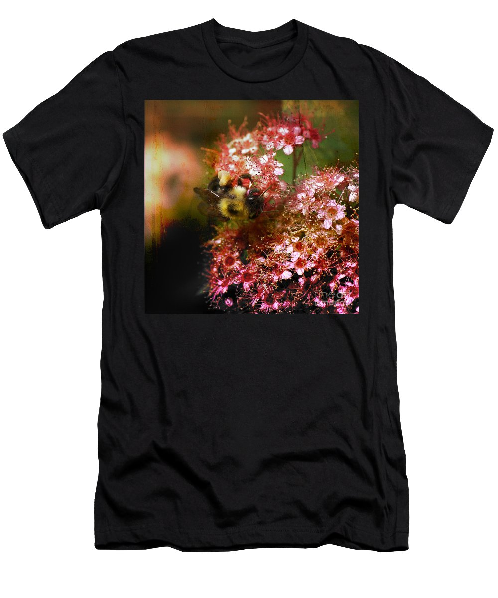 Bee Men's T-Shirt (Athletic Fit) featuring the photograph Fuzzy Buzzy by Sari Sauls
