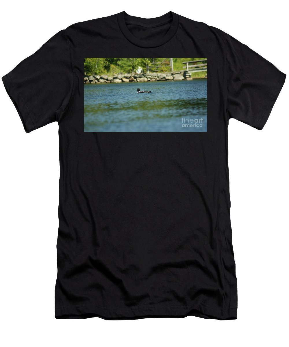 Common Loon Men's T-Shirt (Athletic Fit) featuring the photograph Fuzzy Dew by Judy Carr