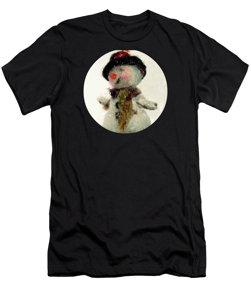 Snowman Men's T-Shirt (Athletic Fit) featuring the photograph Fuzzy The Snowman by Mary Wolf