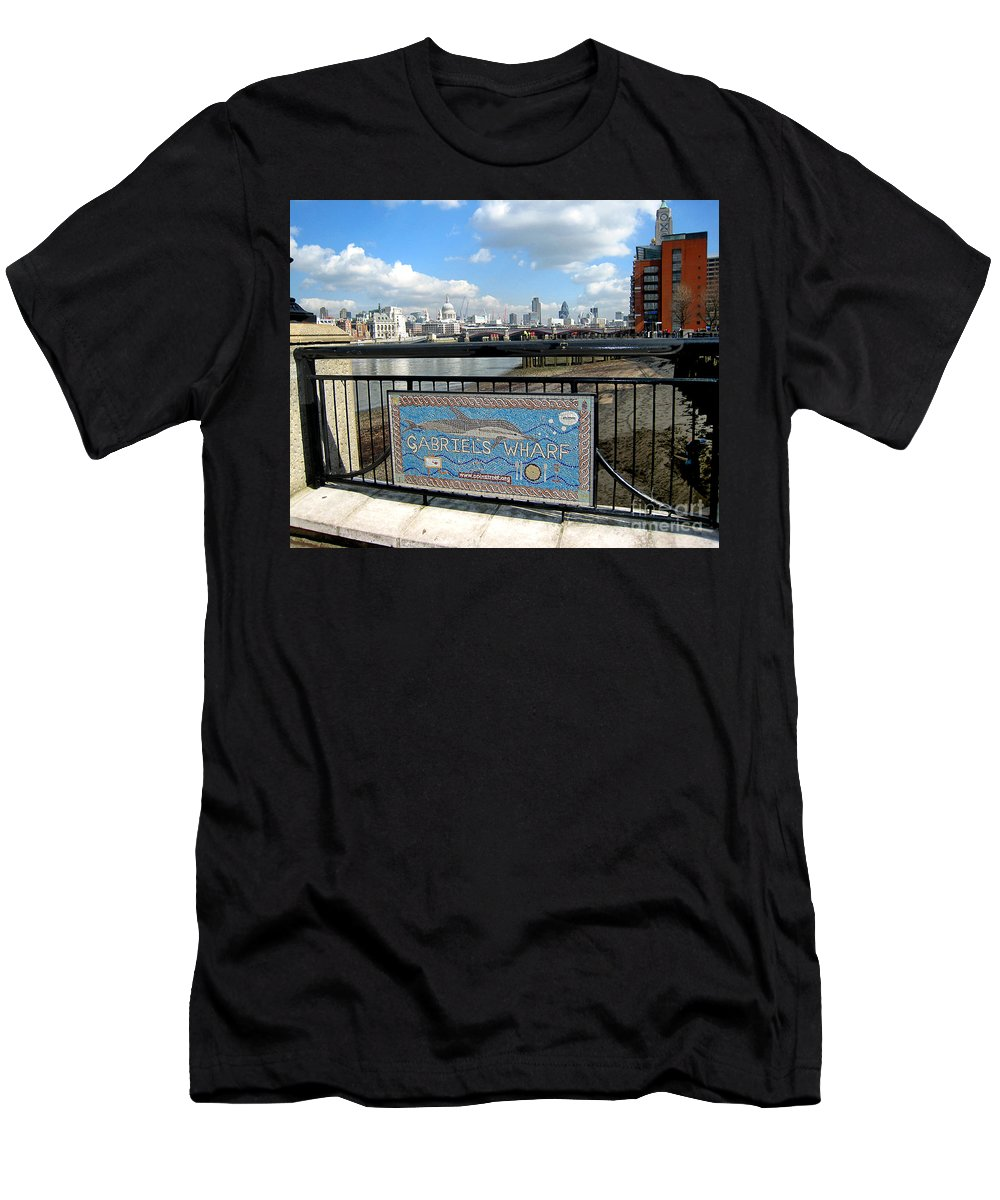 Wharf Men's T-Shirt (Athletic Fit) featuring the photograph Gabriel's Wharf by Madeline Ellis
